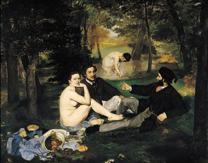 Manet: Colazione sull'erba, 1863, olio su tela, 208 x 264, Museo d'Orsay, Parigi