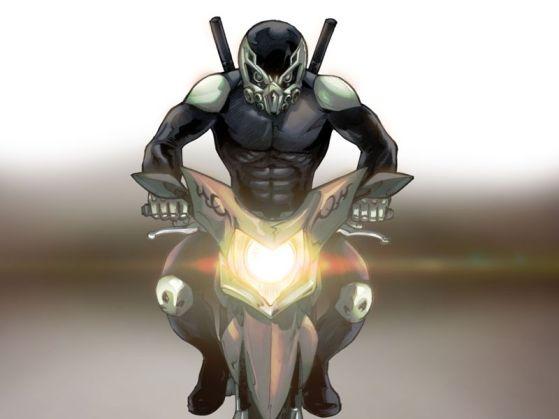 Gambar karakter Setan Jalanan dan motornya hasil goresan M. Arief Russanto.