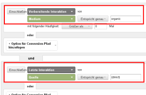 Screenshot Conversion-Segment SEO-Effekt auf Direct-Traffic