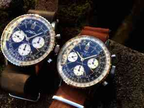 "(left) Navitimer ""BIg Eye"" AOPA ref.806 from late 1960's (right) Navitimer ""Jim Clark"" ref.806 from 1966"
