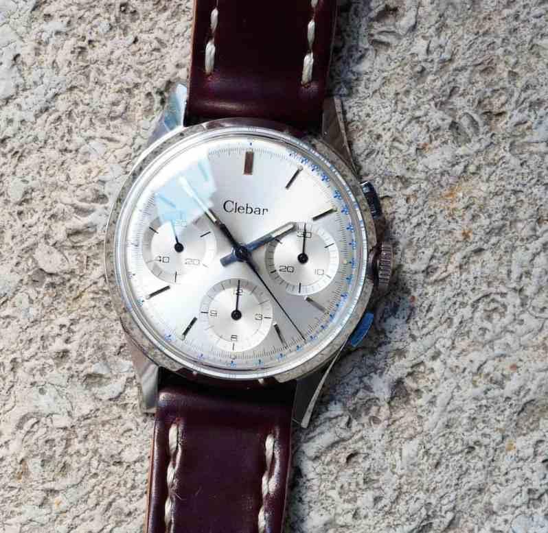 A crisp clean dial adorns the Clebar chronograph