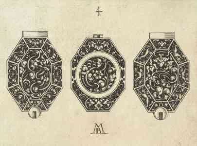 Watchdial design with foliate scroll motives, Michiel le Blon, appr. 1620 – 1626