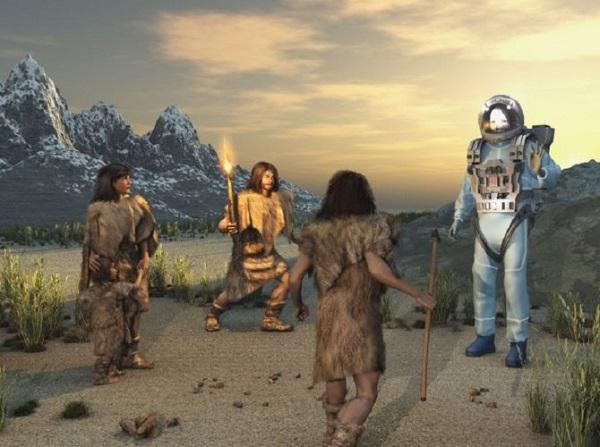Cenos aliens with cavemen