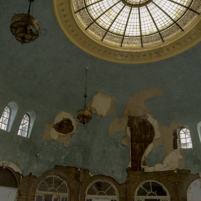 An amazing stained glass window in the cafeteria of an abandoned TB Hospital