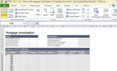 Home Mortgage Calculator Template For Excel