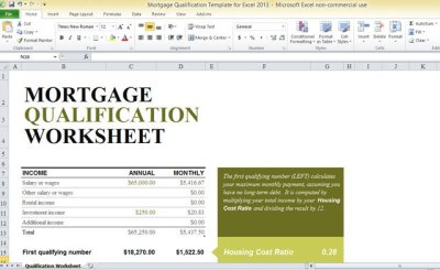 Mortgage Qualification Template For Excel 2013