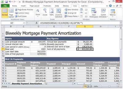 Bi-Weekly Mortgage Payment Amortization Template For Excel