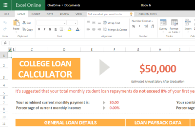 College Loan Calculator for Excel