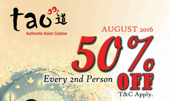 Buffet Promotion - Tao 50% OFF for every 2nd person