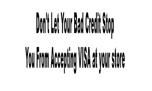 Don't Let Your Bad Credit Stop You From Accepting VISA at your store