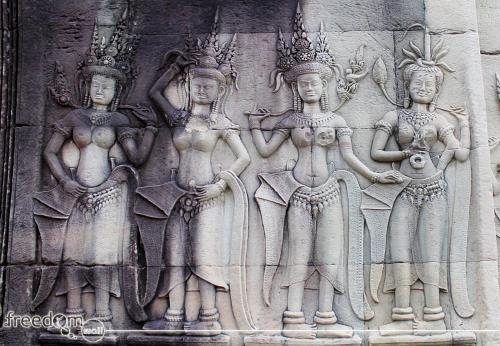 Wall carvings and reliefs in Archor Wat, depicting the Apsara dance