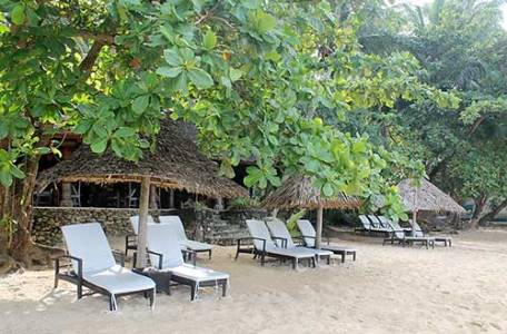 Beach beds available for guests' use