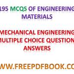 ENGINEERING MATERIALS – Mechanical Engineering Multiple choice Questions Answers