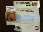 Organic Tea Party stickers,button coupon and a sample Jasmine Green tea