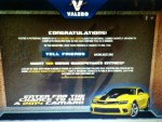 Winner in the Valero's Rumble with Bumblebee Camaro Giveaway - Win a $10 Valero Gas Card