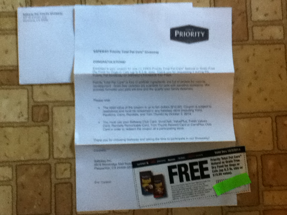 Priority Dog Food Coupons