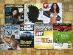 Guitar Player August magazine - Ebony June magazine - Gentlemen's Quarterly May magazine - Salt Water Sportsman July magazine with 2015 Guide To Towing guide - Progressive Grocer  June magazine -