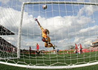 OTTAWA, ON - JUNE 22: Lucy Bronze of England scores the team's second goal as the ball hits the back of the net behind Ingrid Hjelmseth #1 of Norway during the FIFA Women's World Cup Canada 2015 round of 16 match between Norway and England at Lansdowne Stadium on June 22, 2015 in Ottawa, Canada. (Photo by Andre Ringuette/Getty Images)