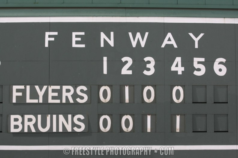 BOSTON - JANUARY 01: The manual scoreboard on the Green Monster shows the scored goals through the overtime period as the Boston Bruins won 2-1 against the Philadelphia Flyers during the 2010 Bridgestone NHL Winter Classic at Fenway Park on January 1, 2010 in Boston Massachusetts. (Photo by Andre Ringuette/NHLI via Getty Images)