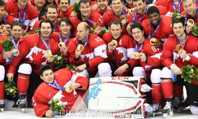 SOCHI, RUSSIA - FEBRUARY 23: Canada vs Sweden Men's Gold Medal Game - Sochi 2014 Olympic Winter Games. (Photo by Andre Ringuette/HHOF-IIHF Images)