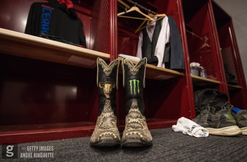 OTTAWA, ON - JUNE 18: Donald Cerrone's boots backstage before the UFC Fight Night event inside the TD Place Arena on June 18, 2016 in Ottawa, Ontario, Canada. (Photo by Andre Ringuette/Zuffa LLC/Zuffa LLC via Getty Images)