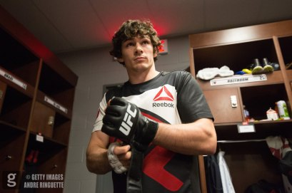 OTTAWA, ON - JUNE 18: Olivier Aubin-Mercier prepares backstage during the UFC Fight Night event inside the TD Place Arena on June 18, 2016 in Ottawa, Ontario, Canada. (Photo by Andre Ringuette/Zuffa LLC/Zuffa LLC via Getty Images)