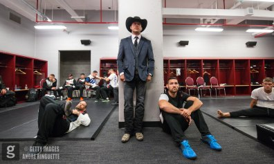 OTTAWA, ON - JUNE 18: Donald Cerrone and Chris Weidman look on backstage before the UFC Fight Night event inside the TD Place Arena on June 18, 2016 in Ottawa, Ontario, Canada. (Photo by Andre Ringuette/Zuffa LLC/Zuffa LLC via Getty Images)