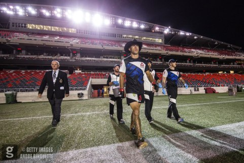 OTTAWA, ON - JUNE 18: Donald Cerrone makes the walk to the octagon from the dressing rooms for his welterweight bout during the UFC Fight Night event inside the TD Place Arena on June 18, 2016 in Ottawa, Ontario, Canada. (Photo by Andre Ringuette/Zuffa LLC/Zuffa LLC via Getty Images)
