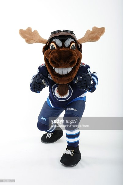 OTTAWA, ON - JANUARY 26: Mick E. Moose, mascot for the Winnipeg Jets, poses for a portrait during 2012 NHL All-Star Weekend at Ottawa Convention Centre on January 26, 2012 in Ottawa, Canada. (Photo by Matt Zambonin/Freestyle Photo/Getty Images)