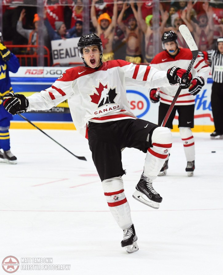 Canada's Mitch Marner #16 celebrates after scoring a third period goal on Team Sweden during preliminary round action at the 2016 IIHF World Junior Championship. (Photo by Matt Zambonin/HHOF-IIHF Images)