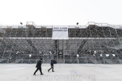 OTTAWA, ON - NOVEMBER 4: Workers walk past the temporary scaffolding during rink buildout ahead of the Scotiabank NHL100 Classic between the Montreal Canadiens and the Ottawa Senators on December 4, 2017 in Ottawa, Canada. (Photo by Andre Ringuette/NHLI via Getty Images)