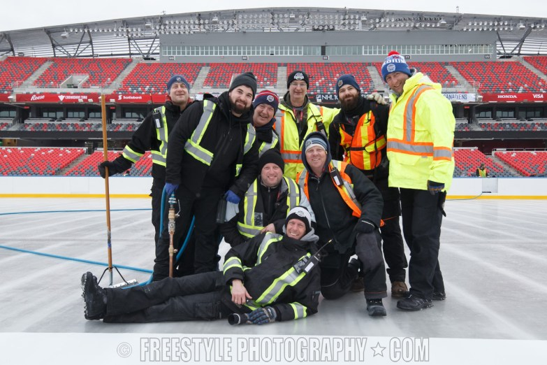 OTTAWA, ON - DECEMBER 9: The ice crew poses for a group photo as they work on the ice ahead of the Scotiabank NHL100 Classic between the Ottawa Senators and the Montreal Canadiens at Lansdowne Park on December 9, 2017 in Ottawa, Canada. (Photo by Andre Ringuette/NHLI via Getty Images)