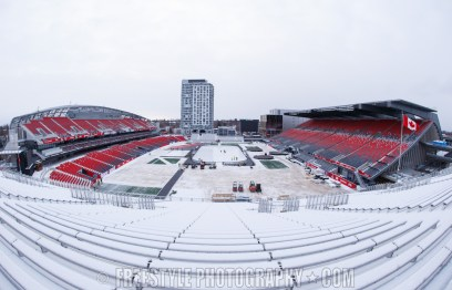 OTTAWA, ON - DECEMBER 10: A general view of the rink and stadium as ice crew members install lines in the ice ahead of the Scotiabank NHL100 Classic between the Ottawa Senators and the Montreal Canadiens, at Lansdowne Park on December 10, 2017 in Ottawa, Canada. (Photo by Andre Ringuette/NHLI via Getty Images)