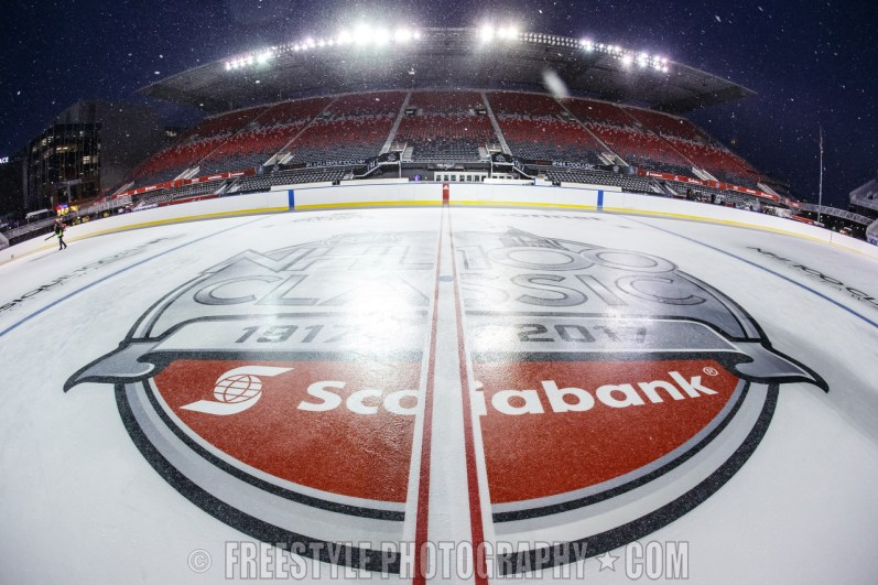 OTTAWA, ON - DECEMBER 10: A detail of the center ice logo ahead of the Scotiabank NHL100 Classic between the Ottawa Senators and the Montreal Canadiens, at Lansdowne Park on December 10, 2017 in Ottawa, Canada. (Photo by Andre Ringuette/NHLI via Getty Images)