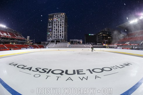 OTTAWA, ON - DECEMBER 10: A detail of an in-ice logo ahead of the Scotiabank NHL100 Classic between the Ottawa Senators and the Montreal Canadiens, at Lansdowne Park on December 10, 2017 in Ottawa, Canada. (Photo by Andre Ringuette/NHLI via Getty Images)