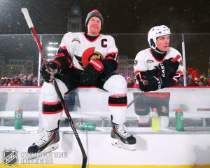 OTTAWA, ON - DECEMBER 15: Ottawa Senators alumni Daniel Alfredsson #11 and Randy Robitaille #27 sit on the bench between shifts during the 2017 Scotiabank NHL100 Classic Ottawa Senators Alumni Game on Parliament Hill on December 15, 2017 in Ottawa, Canada. (Photo Andre Ringuette/NHLI via Getty Images)