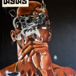 IRONY. Acrylic and oil stick on canvas. 70x58 in. 2012. Fahamu Pecou