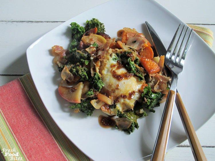 One Pan Sweet Potato-Kale Fried Egg Hash