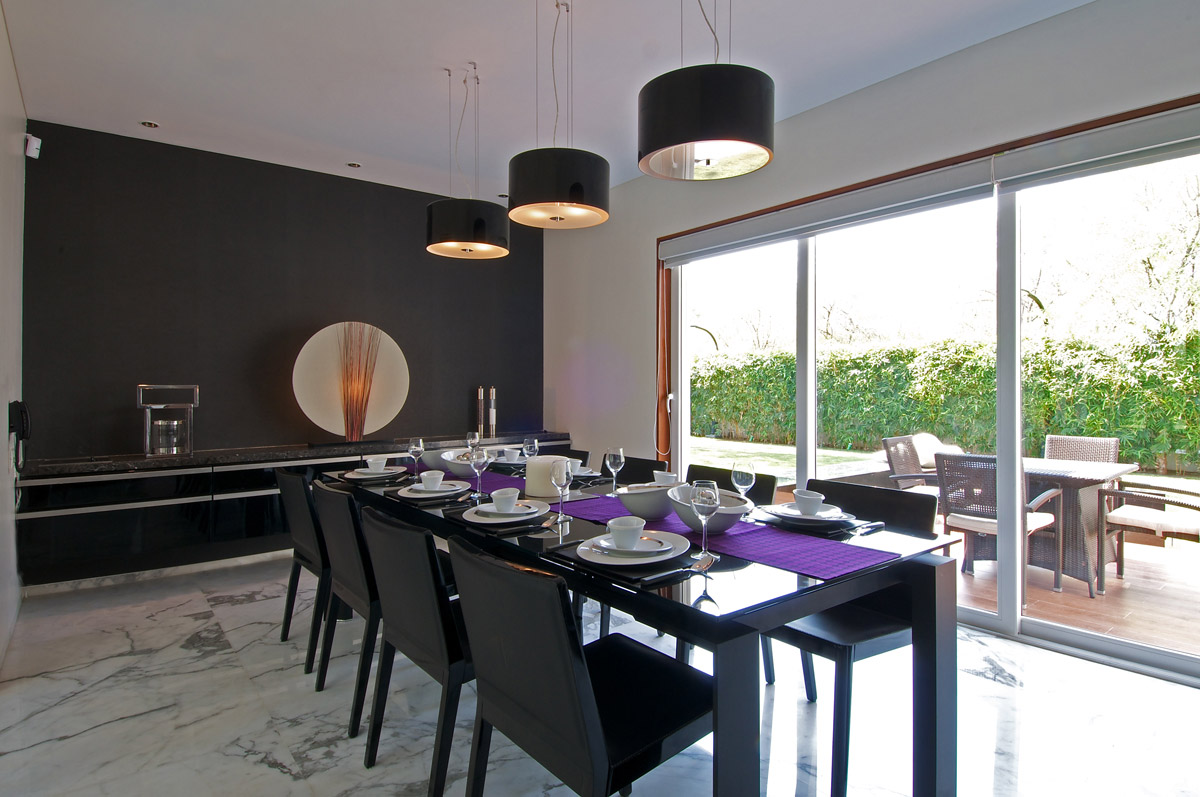 minimalist bungalow in baroda india kitchen table lighting Black Dining Table Lighting Art Dinesh Mill Bungalow in Baroda India by