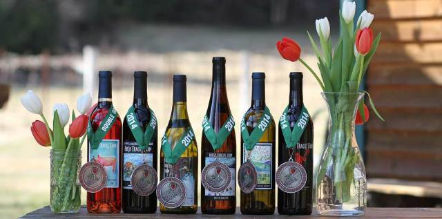 a sample of fresh tracks farm wine bottles