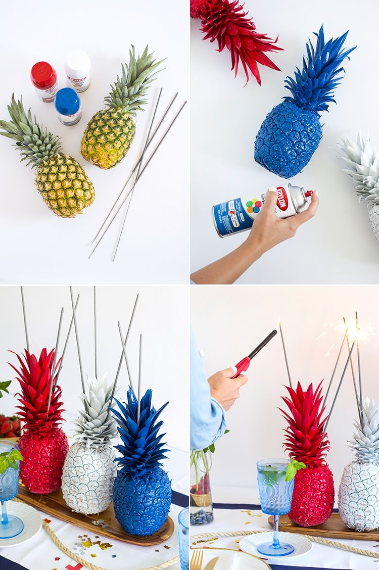 Th of july pineapple sparkler centerpieces freutcake