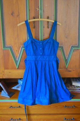 denim dress after hem alteration