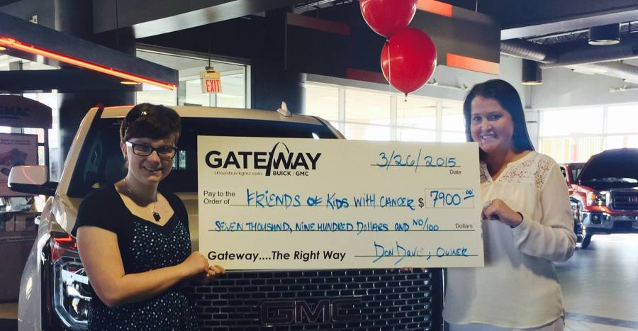 Friends of Kids with Cancer   Gateway Buick GMC presents check after     THANK YOU Gateway Buick GMC for being so kind and helping kids with  cancer   be kids