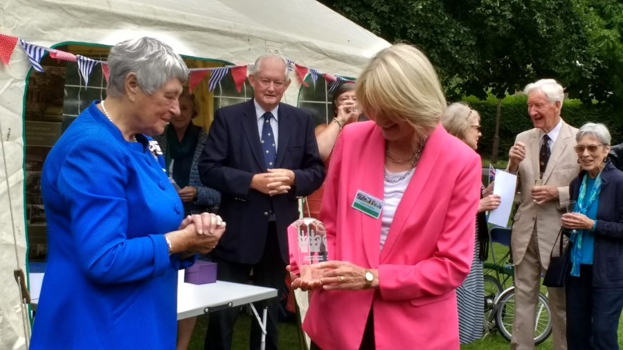 Judie Hodsdon receiving the award from the Lord Lieutenant