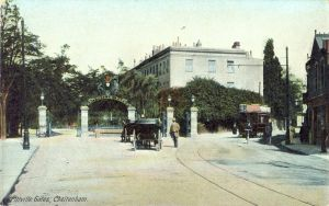 Pittville Gates in 1900s colour Kromo card