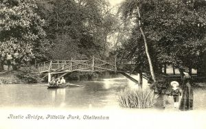 Pittville Park, boating, lake and bridge, 1908 or earlier