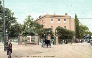 Pittville_Gates in 1906 or earlier with queuing for trams, in colour