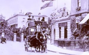 Pittville Gates in 1890s with horse drawn omnibus