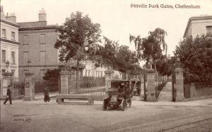 Pittville Gates in 1908-12 approx, and with taxis