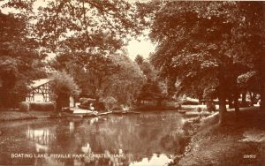 Pittville Park, boating, lake and boathouse, ca 1930s